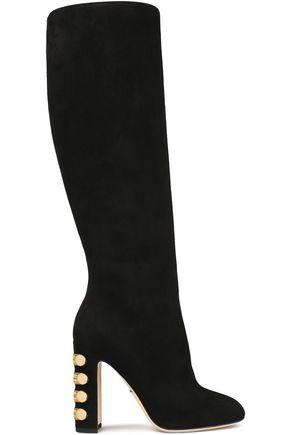 DOLCE & GABBANA Embellished suede knee boots