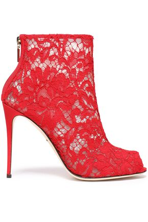 DOLCE & GABBANA Corded lace and mesh ankle boots