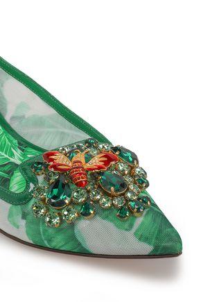 DOLCE & GABBANA Crystal-embellished printed mesh point-toe flats