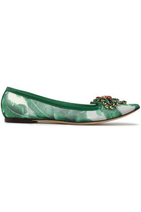 DOLCE & GABBANA Crystal-embellished printed mesh point-toe flats