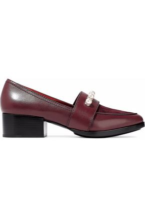 WOMAN QUINN FAUX PEARL-EMBELLISHED LEATHER AND SUEDE LOAFERS BURGUNDY