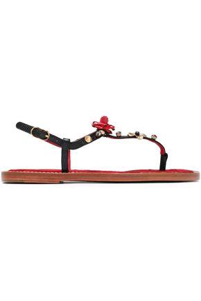 DOLCE & GABBANA Embellished snake-effect leather sandals