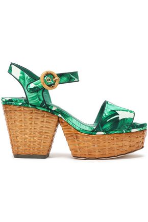 DOLCE & GABBANA Printed silk-blend satin platform sandals