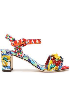 DOLCE & GABBANA Embellished printed jacquard sandals