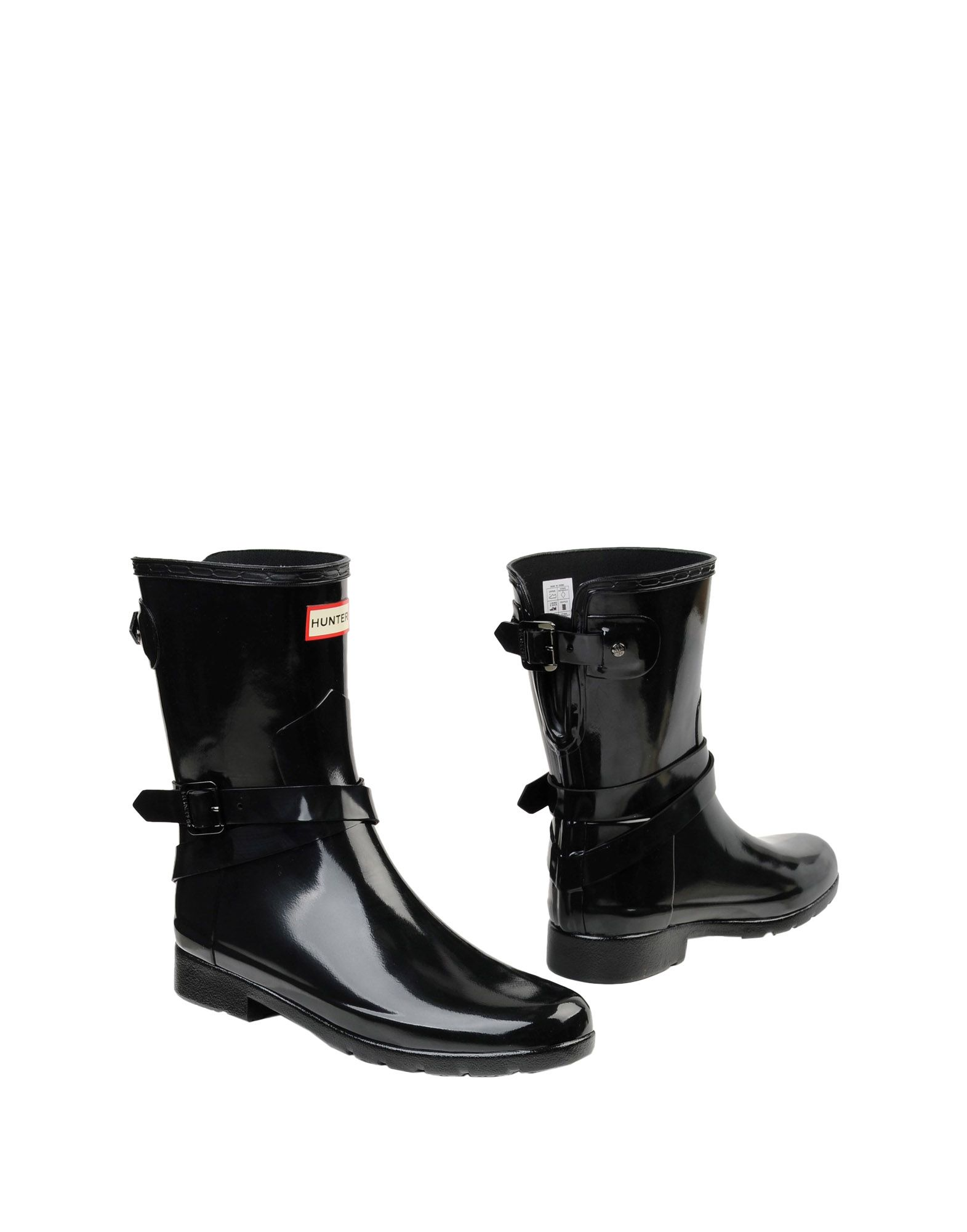 《送料無料》HUNTER レディース ショートブーツ ブラック 3 ゴム REFINED BACK ADJUSTABLE SHORT W/ ANKLE STRAP GLOSS