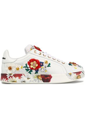 DOLCE & GABBANA Embellished leather and neoprene sneakers