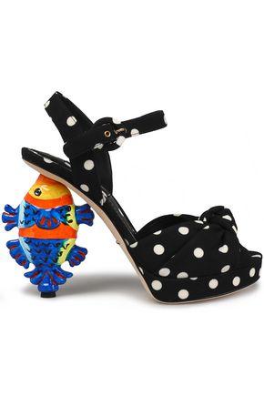 DOLCE & GABBANA Knotted polka-dot crepe platform sandals