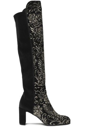 STUART WEITZMAN Metallic embellished embroidered velvet knee boots