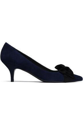 STUART WEITZMAN Bow-embellished suede and calf hair pumps