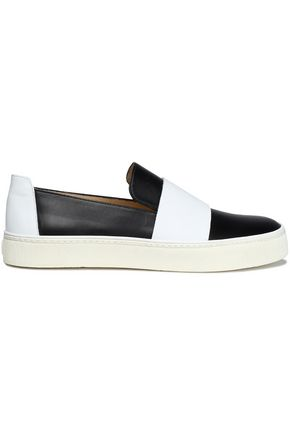 STUART WEITZMAN Two-tone leather slip-on sneakers