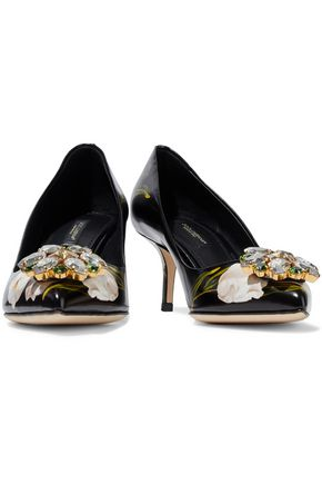 DOLCE   GABBANA Crystal-embellished floral-print glossed-leather pumps 7358b2e4cd7ed