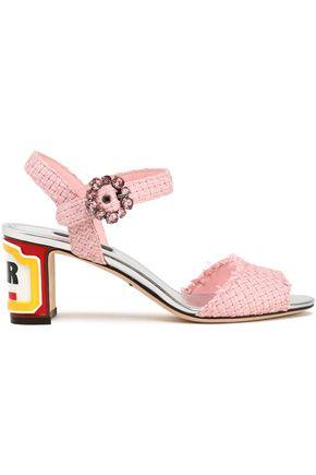 DOLCE & GABBANA Embellished woven raffia sandals