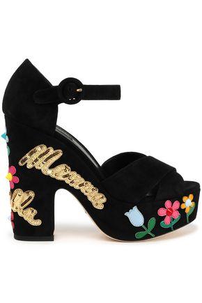 DOLCE & GABBANA Appliquéd suede platform sandals