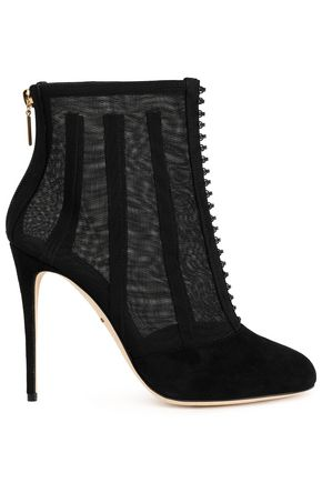 DOLCE & GABBANA Paneled suede and tulle ankle boots