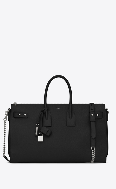 SAINT LAURENT Sac De Jour Supple Woman sac de jour souple duffle 36h bag in black grained leather a_V4