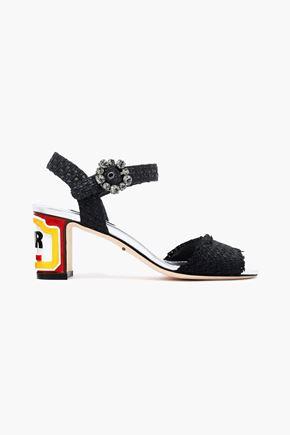 DOLCE & GABBANA Keira embellished woven raffia sandals
