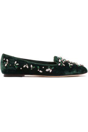 DOLCE & GABBANA Grosgrain-trimmed embellished velvet slippers