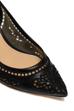 DOLCE & GABBANA Broderie anglaise leather and mesh slingback pumps