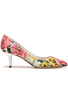DOLCE & GABBANA Bellucci floral-print faux textured-leather pumps