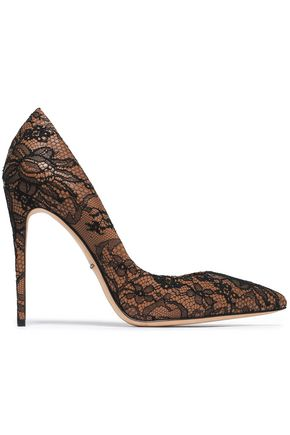 DOLCE & GABBANA Chantilly lace and leather pumps