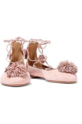 AQUAZZURA Pompom-embellished suede lace-up flats