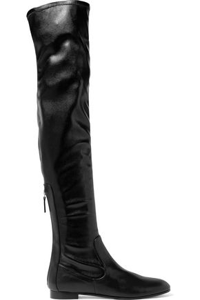 AQUAZZURA All I Need Flat stretch-leather over-the-knee boots