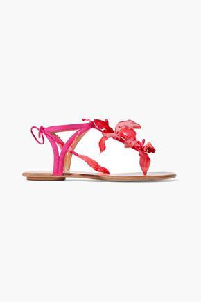 AQUAZZURA Flora appliquéd suede sandals
