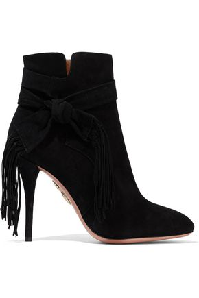 AQUAZZURA Loren knotted fringe-trimmed suede ankle boots