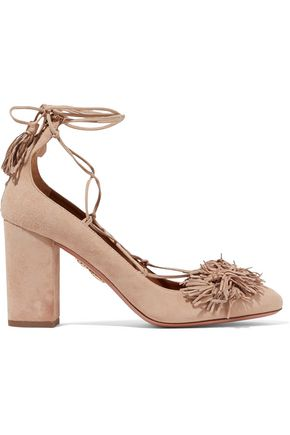 AQUAZZURA Wild Thing lace-up fringed suede pumps