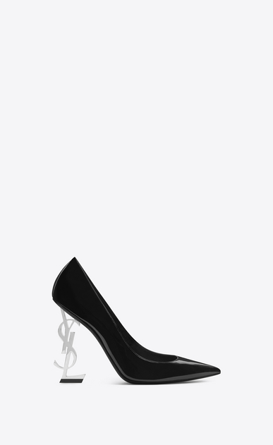 SAINT LAURENT YSL heels Woman opyum 110 pump in black patent leather and silver-toned metal V4