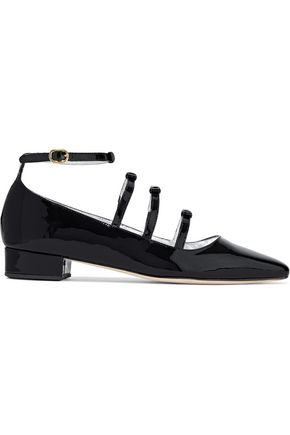 ALEXACHUNG Bow-embellished patent-leather point-toe flats