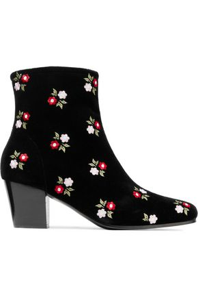 ALEXACHUNG Beatnik embroidered cotton-velvet ankle boots