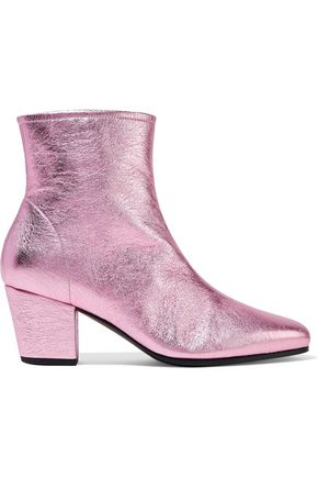 ALEXACHUNG Beatnik metallic textured-leather ankle boots
