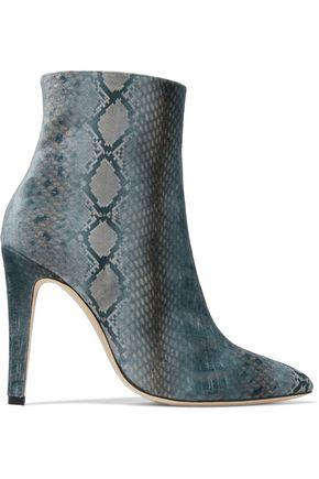 ALEXACHUNG Snake-print velvet ankle boots
