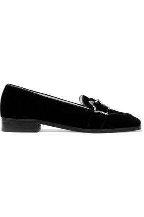 ALEXA CHUNG Crystal-embellished velvet loafers