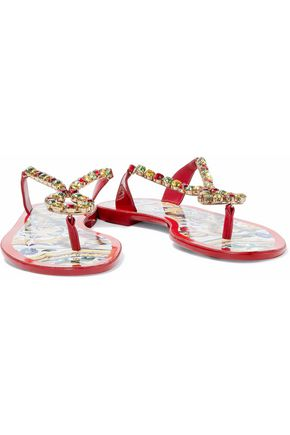 2c217392683a DOLCE   GABBANA Crystal-embellished patent-leather sandals