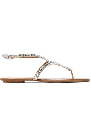 AQUAZZURA Hawaii crystal-embellished suede sandals