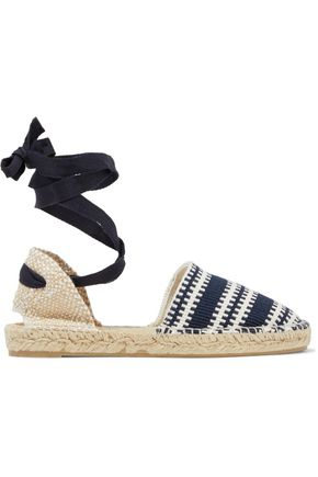 WOMAN LACE-UP WOVEN ESPADRILLES NAVY