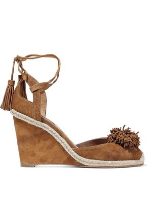 AQUAZZURA Sunshine pompom-embellished suede wedge sandals