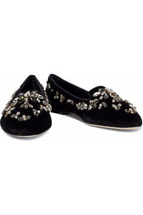 DOLCE & GABBANA Crystal-embellished velvet slippers
