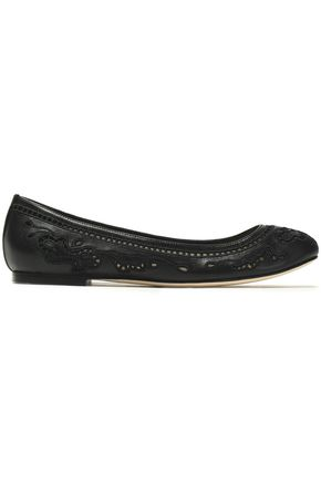 DOLCE & GABBANA Broderie anglaise leather ballet flats