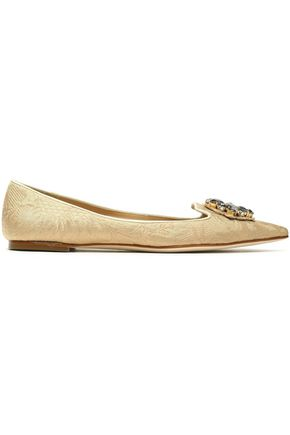 DOLCE & GABBANA Embellished jacquard point-toe flats