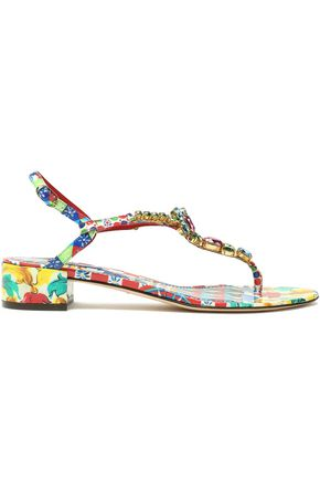DOLCE & GABBANA Crystal-embellished printed patent-leather sandals