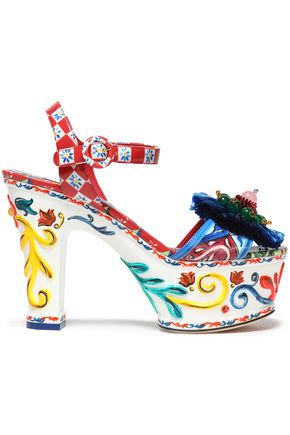 DOLCE & GABBANA Embellished printed patent-leather platform sandals