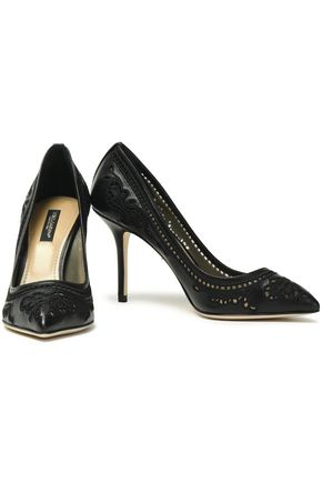 5dfebbbe3d22 DOLCE   GABBANA Cutout embroidered leather and mesh pumps