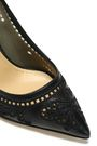 DOLCE & GABBANA Cutout embroidered leather and mesh pumps