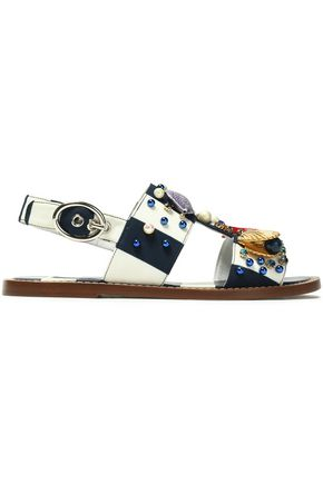 DOLCE & GABBANA Embellished striped crepe sandals