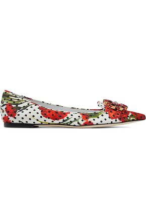 DOLCE & GABBANA Crystal-embellished printed jacquard point-toe flats