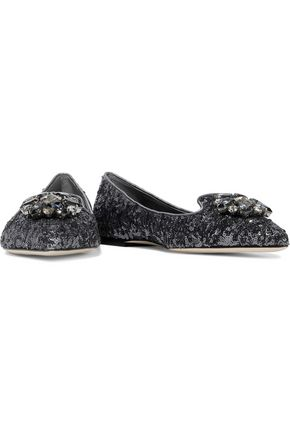 DOLCE & GABBANA Bellucci crystal-embellished sequined leather point-toe flats