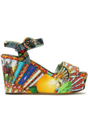 DOLCE & GABBANA Printed jacquard platform wedge sandals